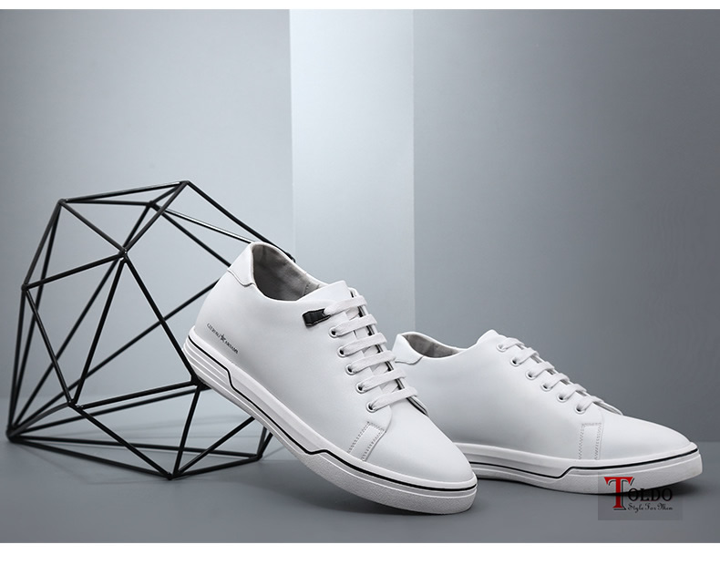 giày cao nam HQ8861 trắng cao 8cm